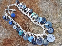 Blue Button Necklace Crocheted Jewelry Chunky by GrandFernAlley