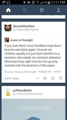 This is in desperate need of punctuation, but still funny. Theatre Nerds, Music Theater, Broadway Theatre, Broadway Shows, Hamilton Musical, Alexander Hamilton, Phantom Of The Opera, Les Misérables, Punctuation