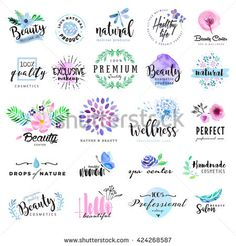 Set of hand drawn watercolor labels and badges for beauty, healthy. Set of hand drawn watercolor labels and badges for beauty royalty-free stock vector art Watercolor Logo, Butterfly Watercolor, Draw Logo, Web Design, Design Set, Graphic Design, Creative Logo, Free Vector Art, Vector Graphics