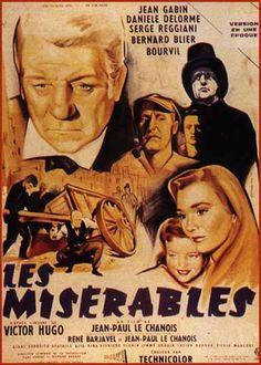 """""""Les misérables"""" de jean-Paul le Chanois avec Jean Gabin, Danièle Delorme, Serge Reggiani, Bernard Blier, Bourvil."""