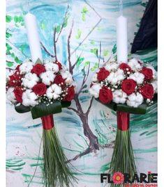 Lumanari nunta din trandafiri rosii si bumbac