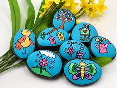 Let your child tell a Spring story in his/her own words! This set of stones helps celebrate the beautiful, vibrant colors and newness of springtime! These sets are hand-painted with acrylics on natural river rocks and sealed with a varnish. The size, shape, and color of each stone will