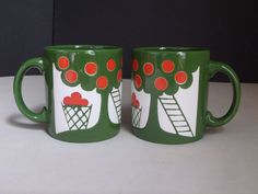 2 Waechtersbach Germany Vintage Coffee Mugs Cups Green Trees Red Apples Orchard
