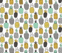 Pineapple Geometric on White fabric by caja_design on Spoonflower - custom fabric