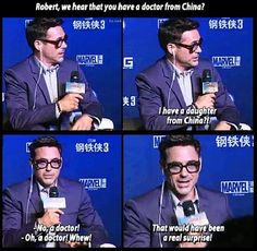 """I heard you have a daughter from China?"" Haha Robert Downey Jr. everyone."