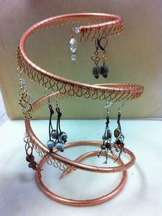 Spiral Copper Earring Tree, Holder, Organizer. Holds approx 55 pairs.