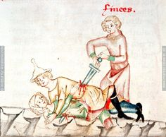 This 14th century image is totally horrible in every way... but look past that: strong evidence for what women's hose really looked like! neat!