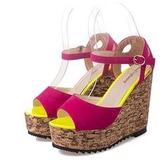 SkyleCoel Womens High Heel Wedge PeepToe Sandals 75 Red >>> Want to know more, click on the image.