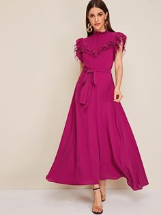 To find out about the Frill Neck Mesh Ruffle Trim Belted Flared Dress at SHEIN, part of our latest Dresses ready to shop online today! Cute Dresses, Beautiful Dresses, Casual Dresses, Summer Dresses, Summer Outfits, Belted Dress, Dress Skirt, Dress Up, Modest Fashion