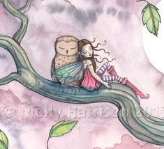 Lullaby on the Wind - Sweet Little Fairy and Owl in Tree Illustration - Fine Art Giclee Print - 9 x 12