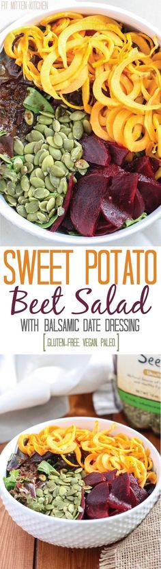 Sweet Potato Beet Salad with a balsamic date dressing! Paleo, gluten-free, and…