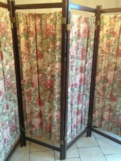 VIctorian Walnut Painted Three 3 Panel Room DividerDressing