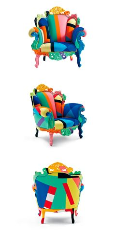Bright and different.I love the style of the chair.I might choose an animal print with a softer look Colorful Furniture, Cool Furniture, Furniture Design, Instalation Art, Elegant Sofa, Vintage Appliances, Colourful Living Room, Memphis Design, Vintage Sofa