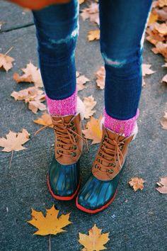 Bean boots + hot pink ragg socks= preppy fall perfection