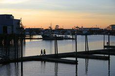 Sunset on the boardwalk in Westport, WA
