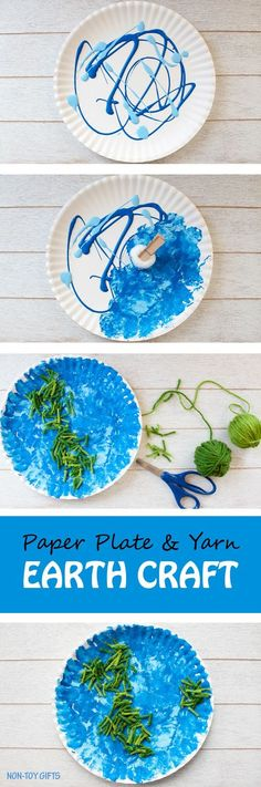 Paper plate and yarn Earth craft for kids. Book-inspired craft, perfect to celebrate Earth Day. Easy enough for toddlers and preschoolers. | at Non-Toy Gifts