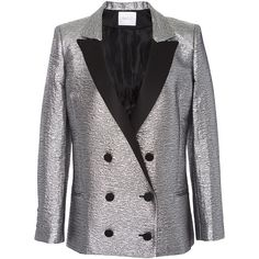 Racil     Prince Double Breasted Tuxedo Jacket in Brocard (13.046.995 IDR) ❤ liked on Polyvore featuring outerwear, jackets, blazers, racil, metallic, metallic jacket, dinner jacket, oversized blazer, satin jackets and satin blazer