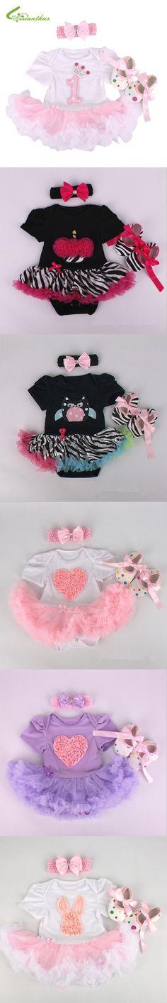 Baby Girls Clothing Sets Romper Dress + Headband + Shoes + Clothing Set Birthday Party Clothes Bebe Princess Dresses Free Ship