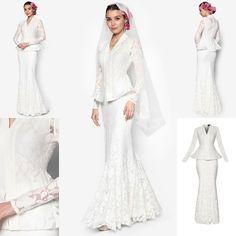 Baju Pengantin Terkini 2016 2017 Rizalman Bridalwear Hydrangea Flare Kebaya Malay Wedding Dress, Kebaya Wedding, Modest Wedding Gowns, Lace Bridesmaid Dresses, Bridal Dresses, Muslimah Wedding, Engagement Dresses, Wedding Costumes, Traditional Dresses