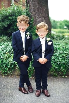 7d1b0c169832 Dark Blue Boy Wedding Suit 2019 Two Button Notched Lapel Ring Bearer Suits  Boys Tuxedo Kids Dinner Suits (Jacket Pants)