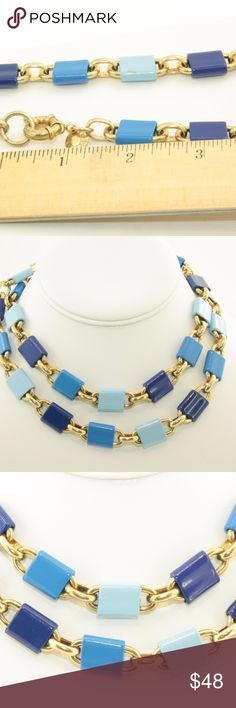 J. Crew Necklace J. Crew Necklace.  Tricolor blue enameled links.  36 inches in total length.  Large round clasp.  Gold tone.  Used item: any wear is shown in pictures. Some links have chips in the enamel. Close up photos provided.  Heavy weight piece.  Bundle Up!  Offers always welcome :) J. Crew Jewelry Necklaces
