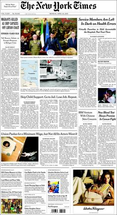 Une de New York Times (États-Unis) 20/04/2015