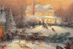 """Victorian Christmas II"" is a classic Thomas Kinkade Christmas scene. Painted in 1992, this image embodies the spirit of Christmas that Thom so enjoyed."