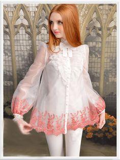 Morpheus Boutique  - White  Bow Jacquard  Floral Ruffle Long Sleeve See Through Hem Shirt, CA$123.06 (http://www.morpheusboutique.com/white-bow-jacquard-floral-ruffle-long-sleeve-see-through-hem-shirt/)