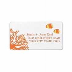 Orange and Yellow Tropcial Beach Address Personalized Address Labels