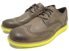 COLE HAAN LUNAR GRAND WINGTIP [LT.BROWN/YELLOW GREY/GREEN] C10450 WITH THE RIGHT OUTFIT.......