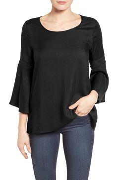 Main Image - Pleione Lace Inset Bell Sleeve Blouse (Regular & Petite)