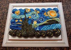 "Van Gogh ""starry night""  tear away cupcake cake Sweetcity cakes 
