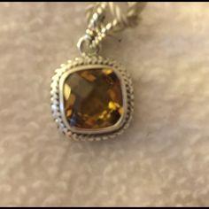 "NWT Samuel B Silver 3.5 ct Citrine Enhancer NWT Samuel B 3.50 ct Citrine enhancer.  0.925 Sterling Silver.  Faceted cushion-cut citrine gemstone.  Enhancer drops 0.94"". Samuel B Jewelry Necklaces"