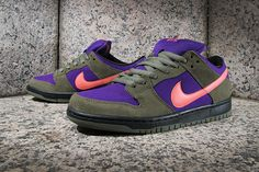 #Nike SB Dunk Low Pro Olive/Atomic Red-Electric Purple