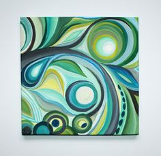 12 x 12 Original Abstract Acrylic Swirl Painting by MegzArt