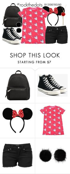 """""""#rockthedots"""" by leslieakay ❤ liked on Polyvore featuring MANGO, Converse, Venus, Wild & Woolly, Simone I. Smith, disney, disneybound and disneycharacter"""