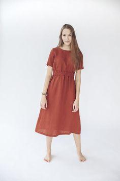 Long Linen Dress Soft Wash Linen Dress for Women   Etsy Sustainable Looks, Burnt Orange Color, Fabric Samples, Natural Linen, Swing Dress, Linen Fabric, Cold Shoulder Dress, Model, How To Wear