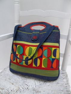 Flore's patchwork handbag/tote bag bright colors ♥ by Sakamaliss, €55.00