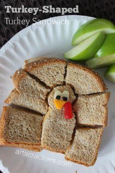 Turkey Shaped Turkey Sandwich Lunch Idea
