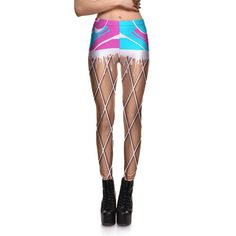 YUSKY Women Hollow Out Tenths Pants Flower Print Footless Leggings