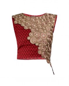 Zari Embroidered Red Top