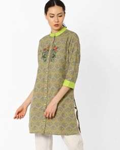 Buy AJIO Women Multicoloured Printed Tunic with Embroidery | AJIO