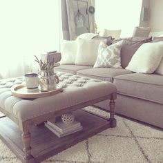 Overstock tufted ottoman living room diy crafts pinte within coffee. Storage Ottoman Coffee Table, Couch With Ottoman, Ottoman Table, Ottoman In Living Room, Living Room Storage, My Living Room, Living Room Furniture, Living Room Decor, Taupe Living Room