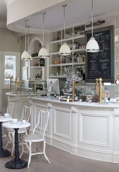 Attractive Small Coffee Shop Design & 50 Best Decor Ideas - Page 26 of 54 Restaurant Design, Bakery Design, Cafe Restaurant, Restaurant Lighting, Bakery Cafe, Paris Bakery, Bakery Shops, Bakery Kitchen, Modern Restaurant