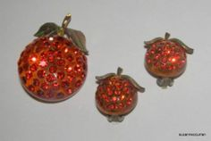Vintage Forbidden Fruit Lucite Rhinestone Apple Pin Clip Earrings | eBay