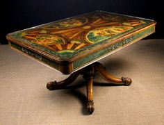 An Unusual & Remarkable 19th Century Centre Table lavishly decorated with painted scenic panels depicting country folk at leisure, floral garlands and simulated marquetry. The rectangular top with rounded corners, protected by a glass cover. The frieze housing two drawers either side and standing on a turned centre pedestal carved with lotus leaves above four out-swept legs with crested scroll feet enhanced by gilding. 28½ ins (72 cms) high, 54 ins x 35½ ins (137 cms x 90 cms).