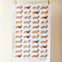 Mary Kilvert Larry the Long Dog Tea Towel