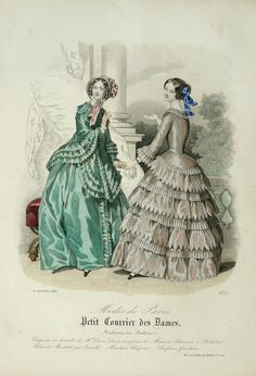 1848 Antique FASHION lithograph Two women in by AntiquePrintsOnly, $17.00