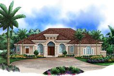 Mediterranean Style House Plan - 4 Beds 5 Baths 3985 Sq/Ft Plan #27-420 Exterior - Front Elevation - Houseplans.com