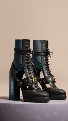 Leather and Snakeskin Cut-out Platform Boots Teal Green | Burberry